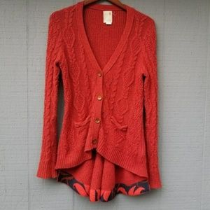 Anthro Far Away from Close Skirted Fisherman Cardi